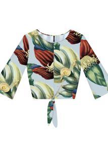 Blusa Cropped Com Laço Tecido Mangara - Lez A Lez