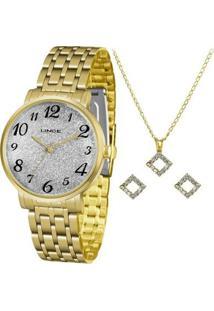 Kit Relógio Lince Shine Analógico + Colar + Brinco Feminino - Feminino-Dourado