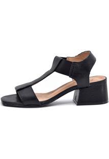 Sandália Scarpan Calçados Finos Em Couro Com Salto Geométrico Médio - Preta