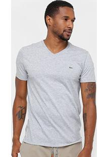 Camiseta Lacoste Gola V Regular Fit Masculina - Masculino-Mescla