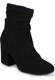 Ankle Boots Feminina Lara Suede Preto