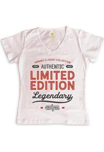 Camiseta Feminina Gola V Frases Cool Tees Limited Edition - Feminino-Rosa