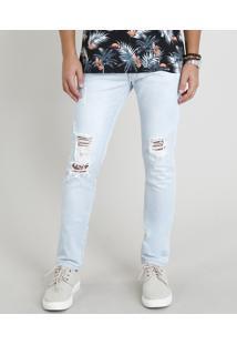 Calça Skinny Masculina Destroyed Com Bolsos Azul Claro
