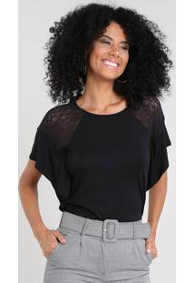 Blusa Feminina Com Renda Manga Curta Decote Redondo Preta