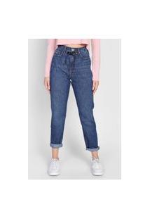 Calça Jeans Calvin Klein Jeans Mom Amarração Azul