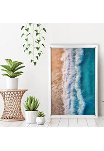 Quadro Com Moldura Chanfrada Praia Branco - Médio