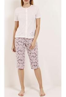 Pijama Curto Feminino Nude/Rosa