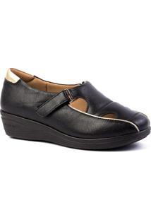 Sapato Feminino Anabela 185 Em Couro Doctor Shoes - Feminino-Preto