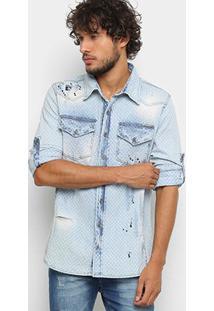 Camisa Jeans Manga Longa Zune Maquinetada Destroyed - Masculino