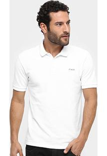 Camisa Polo Calvin Klein Piquet Básica Logo Bordado - Masculino-Branco
