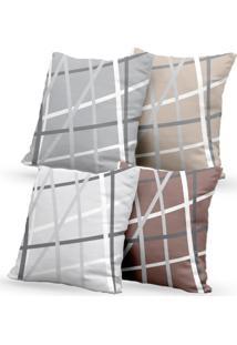 Kit 4 Capas De Almofadas Decorativas Own Geométricas Linhas Cinza 45X45 - Somente Capa