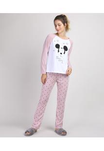 Pijama Feminino Mickey Raglan Manga Longa Branco