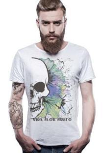 Camiseta Estonada Corte À Fio Joss Fruto Masculina - Masculino-Branco