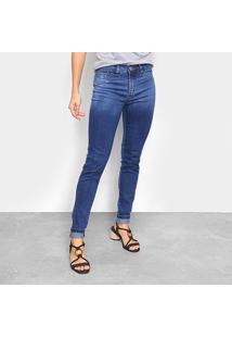Calça Jeans Skinny Estonada Básica Cintura Média Feminina - Feminino