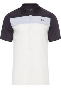 Camisa Masculina Block Panel - Off White E Preto