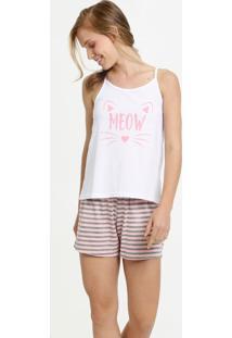 Pijama Feminino Estampa Frontal Alças Finas Marisa