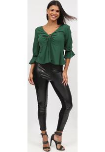 Blusa Lisa Com Amarraã§Ã£O- Verde Escuro- Tritontriton