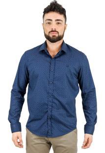 Camisa Norfolk De Poás Com Bordado Azul Marinho & Bege