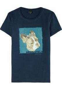 Blusa Azul Marinho Bulldog Em Cotton
