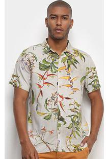 Camisa Manga Curta Colcci Estampada Relax Tropical Masculina - Masculino-Verde Claro