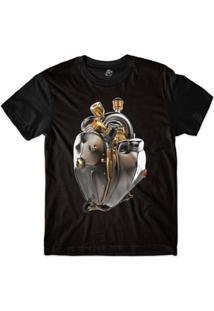 Camiseta Bsc Coração De Máquina Motor Bronze Sublimada - Masculino-Preto