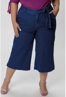 Calça Pantacourt Jeans Com Amarração Na Cintura