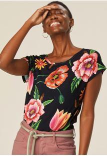 Blusa Preto Ampla Floral Em Malha