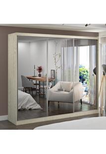 Guarda-Roupa Casal 3 Portas Com 3 Espelhos 100% Mdf 7318G4E3 Marfim Areia - Foscarini