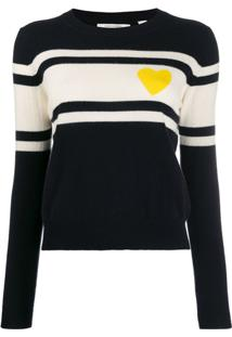 Chinti And Parker Suéter Com Listras E Detalhe De Coração - Azul