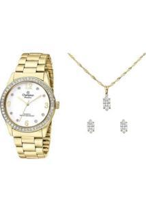Relógio Feminino Champion Analógico Passion Cn28893W Com Acessório - Feminino-Dourado