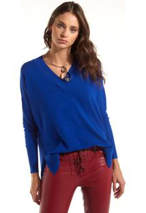 Blusa Rosa Chá Gabriela Tricot Azul Feminina (Azul Royal, Gg)