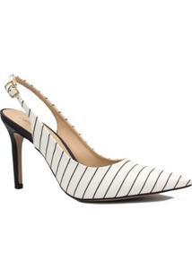 Scarpin Zariff Shoes Chanel Salto Fino Fivela - Feminino-Branco