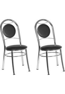 Conjunto 2 Cadeiras Ca-940 Cromada Preto