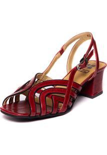 Sandalia Brigitte Vermelha Em Couro - Amora / Sued Preto 5396 Mzq - Vermelho - Feminino - Dafiti