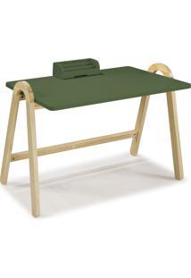 Mesa Escrivaninha Com Porta Objetos Ringo 1031 Natural/Verde Musgo - Maxima