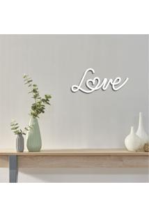 Escultura De Parede Em Mdf Love Branco - Médio