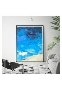 Quadro Com Moldura Chanfrada Abstrato Azul Pequeno