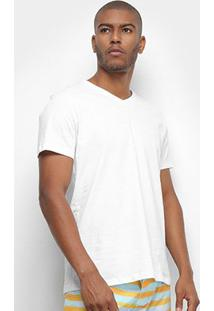 Camiseta Colcci Básica Gola V Masculina - Masculino-Branco