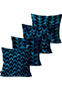 Kit Com 4 Capas Para Almofadas Pump Up Decorativas Azul Geométrico 45X45Cm