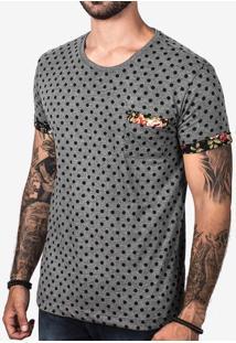 Camiseta Poá Cinza Detalhe Floral 103083