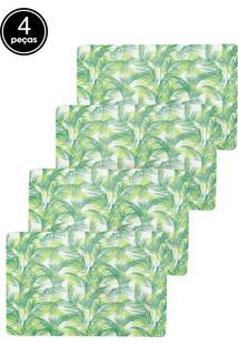 Kit Jogo Americano 4 Pçs Lyor Leaf Verde E Branco 43,5X28,5Cm