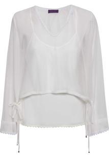 Blusa Feminina Top Decote Tule - Off White