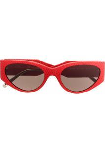 Salvatore Ferragamo Eyewear Óculos De Sol Oversized Em Couro - Vermelho