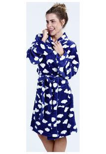 Robe Feminino Soft Estampa Nuvens Manga Longa Marisa