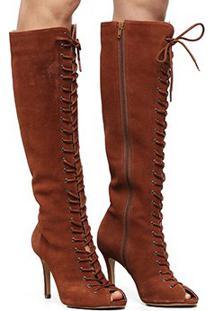 Bota Couro Cano Longo Shoestock Aberta Lace Up Feminina - Feminino-Caramelo