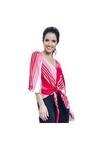 Blusa 101 Resort Wear Crepe Listrada Vermelha De Amarrar Com Laço E Botoes
