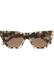 Valentino Eyewear Micro-Studded Square Sunglasses - Marrom