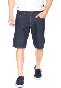Bermuda Jeans Polo Wear Reta Pespontos Azul-Marinho