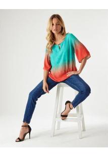 Blusa Listra Rainbow Ampla Zinzane Feminina - Feminino-Azul+Laranja