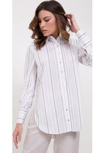 Camisa Listrada Em Tricoline